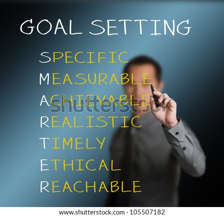 business man writing  concept of smarter goal or objective setting - specific - measurable - achievable realistic - timely - ethical - reachable - stock photo