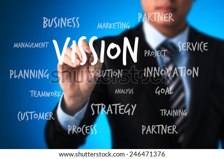business man writing concept of vision bring achievement, performance, solution creativity, development, innovation and success - stock photo