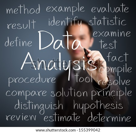 business man writing data analysis concept - stock photo