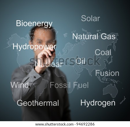 business man writing energy sources in the world