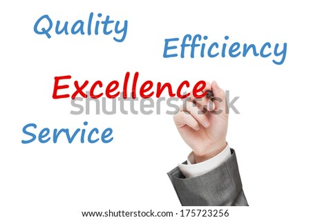 Business man writing excellence concept on transparent board. Isolated on white background  - stock photo