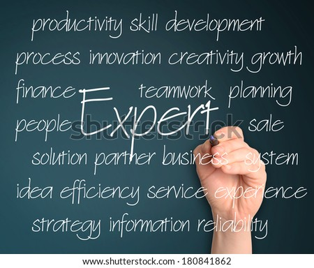 business man writing expert concept  - stock photo