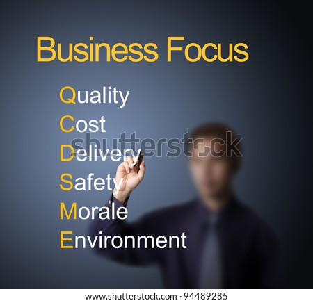 business man writing focus on six important thing ( quality - cost - delivery - safety - morale - environment ) for customer satisfaction and survival of business - stock photo
