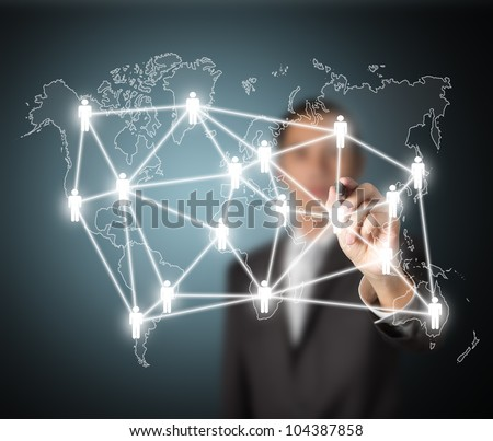 business man writing global social network or people management connection diagram