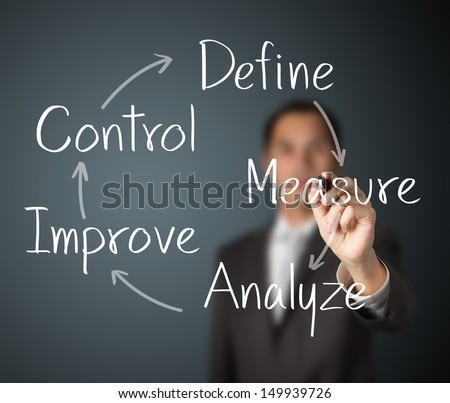 business man writing improvement process concept - stock photo