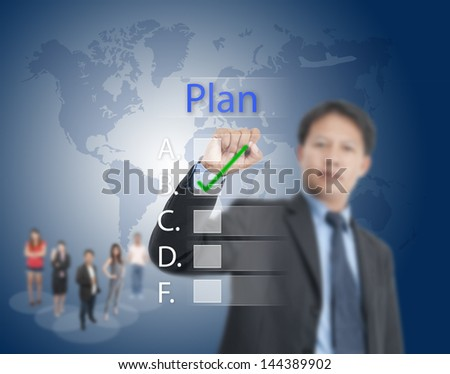 business man writing marketing concept