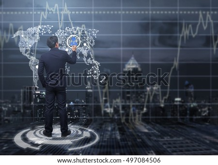 business man Writing on world map and people icon concept,business and technology concept