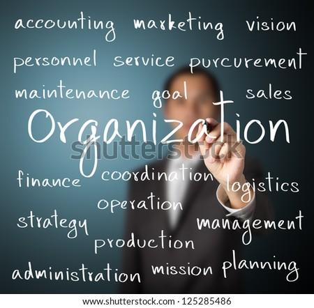 business man writing organization concept - stock photo