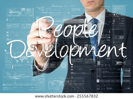 business man writing people development concept  - stock photo