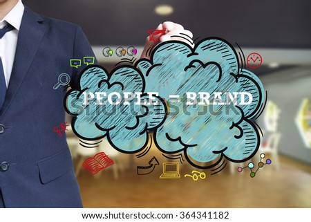 business man writing PEOPLE equal BRAND over the cloud with office background , business concept , business idea - stock photo