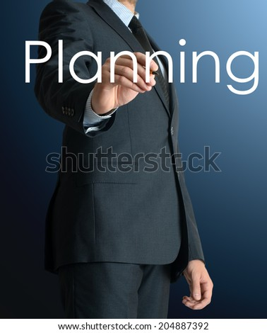 business man writing planning - stock photo