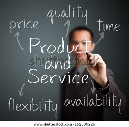 business man writing product and service attribute - stock photo