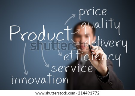business man writing product concept