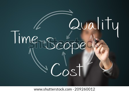 business man writing project management concept - stock photo