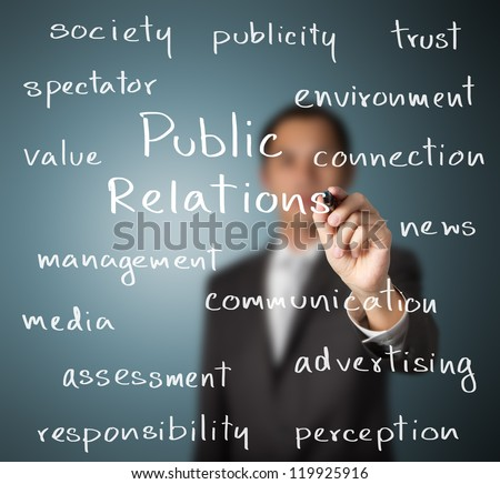 business man writing public relations concept - stock photo