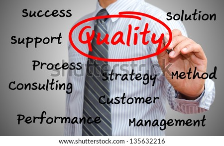 business man writing quality concept - stock photo