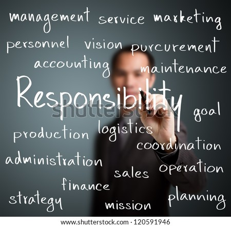 business man writing responsibility concept