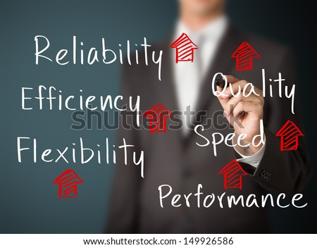 business man writing rising reliability, quality, efficiency, flexibility, performance and speed - stock photo