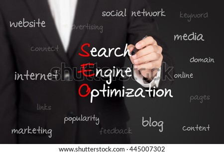business man writing search engine optimization ( SEO ) concept