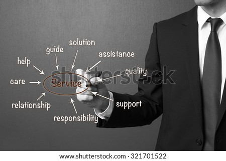 business man writing service concept