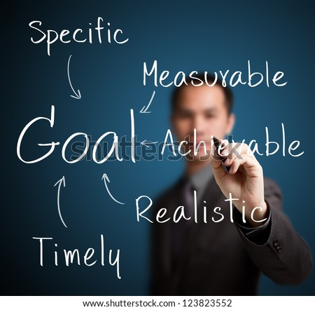 business man writing smart goal setting - stock photo