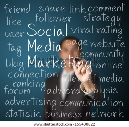 business man writing social media marketing concept - stock photo