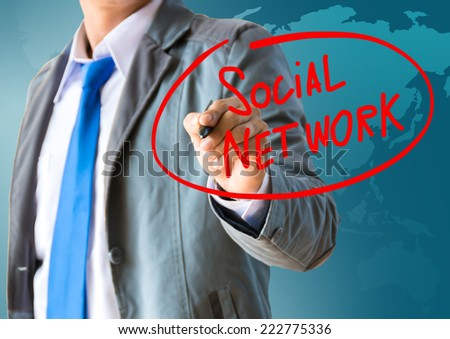 business man writing social network concept  - stock photo