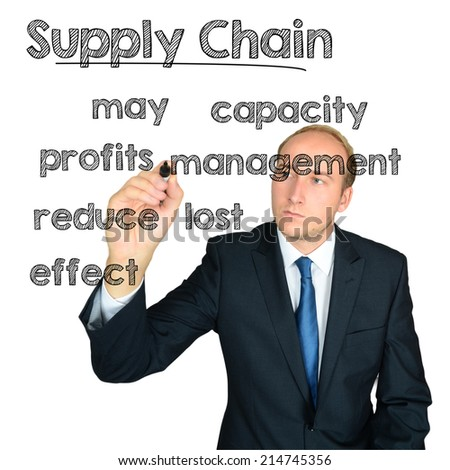 business man writing supply chain concept wordcloud on white background - stock photo