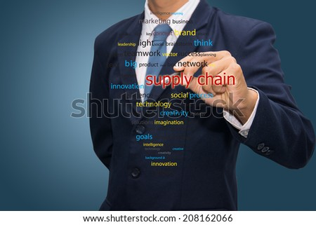 business man writing supply chain management concept  - stock photo