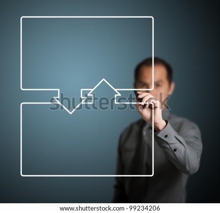business man writing top - bottom exchange diagram - stock photo