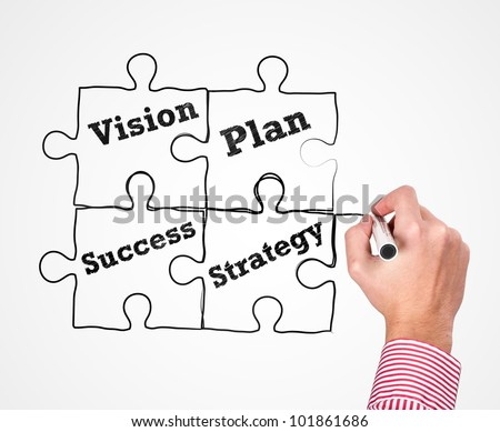 Business man writing. Vision, Plan, Success, Strategy on whiteboard. - stock photo