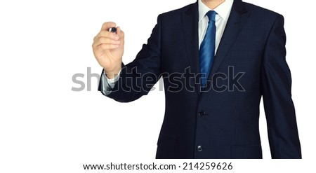 Business man writing with marker isolated on white background  - stock photo
