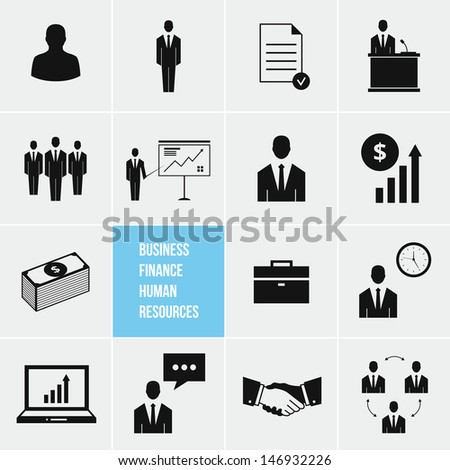 Business Management and Human Resources Icons Set bitmap copy - stock photo