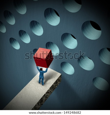 Business management challenges concept as a businessman holding a cube trying to make it fit in a round hole as a symbol of overcoming obstacles and adversity through strategy and strong leadership. - stock photo