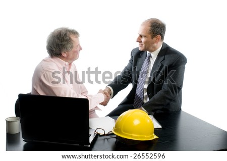 business management senior executives client shaking hands in office retired older men architect builder construction designer client - stock photo