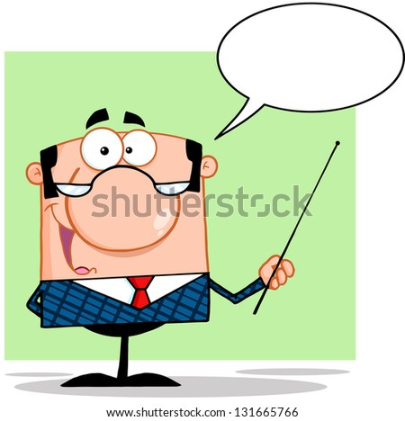 Business Manager Gesturing With A Pointer Stick And Speech Bubble. Raster Illustration.Vector Version Also Available In Portfolio. - stock photo