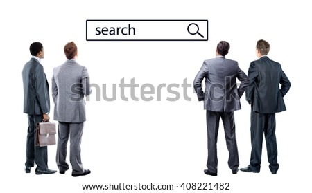 business mans looking at search line - stock photo