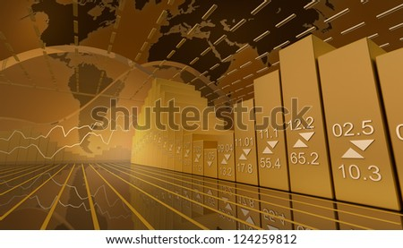 Business market background with stock diagramm - stock photo