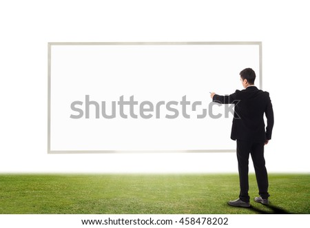 Business marketing concept with businessman drawing idea and key success on white board.