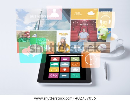 business, media and technology concept - tablet pc computer with application icons and cup of coffee - stock photo