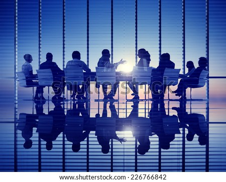 Business Meeting Backlit Professional Strategy Concept - stock photo