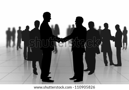 Business meeting. Business people shaking hands - stock photo