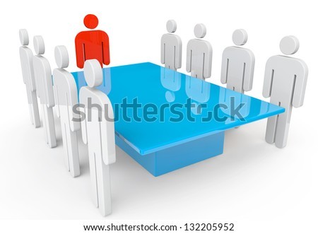 Business meeting concept. Persons with leader around table on a white background