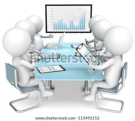 Business meeting. 3D little human characters X6 during business review. Big screen. Business People series. - stock photo