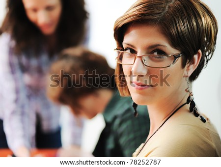 Business meeting, group of young executives working together - stock photo