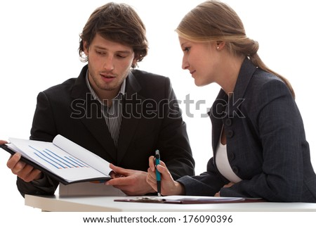 Business meeting in office, economic discussion. - stock photo
