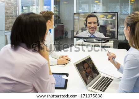 Business meeting in office, group Of Businesspeople In video conference   - stock photo