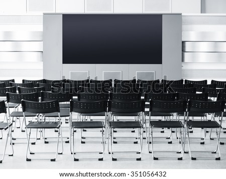 Business meeting Seminar room conference with Seats and Blank screen Display - stock photo