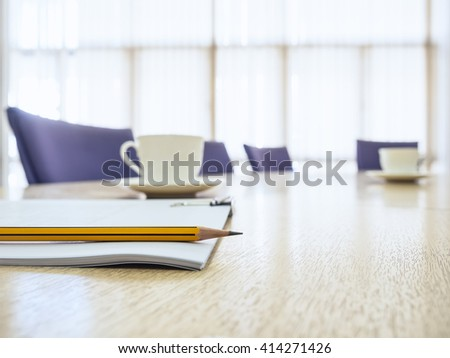 Business meeting Table with Seats Coffee and book Board room Interior  - stock photo