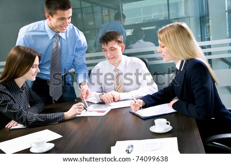 Business meeting - Team working on project - stock photo